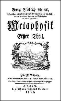 Metaphysik von Meier,  Georg Friedrich