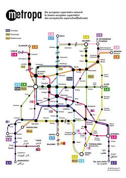 Metropa – Das europäische Superschnellbahnnetz, Poster, Plano in Rolle