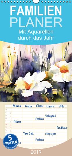 Mit Aquarellen durch das Jahr – Familienplaner hoch (Wandkalender 2019 , 21 cm x 45 cm, hoch) von Mesch,  Sylwia