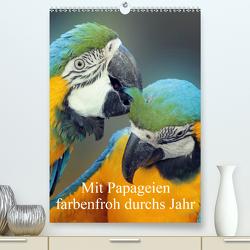 Mit Papageien farbenfroh durchs Jahr (Premium, hochwertiger DIN A2 Wandkalender 2021, Kunstdruck in Hochglanz) von Bönner,  Marion