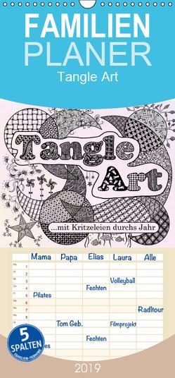 Mit Tangle-Art durchs Jahr – Familienplaner hoch (Wandkalender 2019 , 21 cm x 45 cm, hoch) von janne