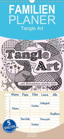 Mit Tangle-Art durchs Jahr – Familienplaner hoch (Wandkalender 2020 , 21 cm x 45 cm, hoch) von janne