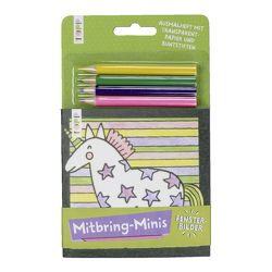 Mitbring-Minis Fensterbilder-Ausmalheft mit Buntstiften von frechverlag