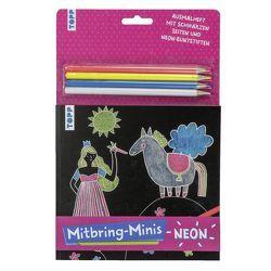 Mitbring-Minis Schwarzes Ausmalheft mit Neon-Buntstiften von frechverlag