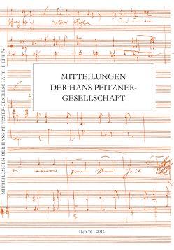 Mitteilungen der Hans Pfitzner-Gesellschaft von Schmidt, Birgit, Tybout, Rolf