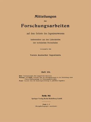 Mitteilungen über Forschungsarbeiten von Holm,  Fritz, Nissen,  Oscar, Preuß,  E., Watzinger,  A.