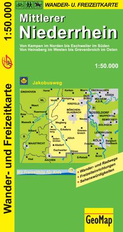 Mittlerer Niederrhein Wander- und Freizeitkarte