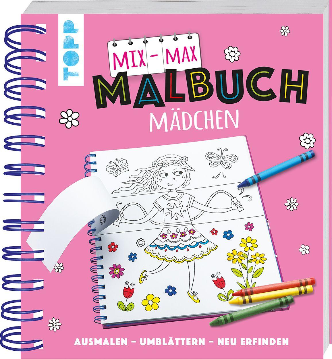 Mix-Max-Malbuch Mädchen von frechverlag: ausmalen - umblättern - neu