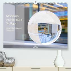 Moderne Architektur in Stuttgart durch die Glaskugel fotografiert (Premium, hochwertiger DIN A2 Wandkalender 2020, Kunstdruck in Hochglanz) von Scheurer,  Monika