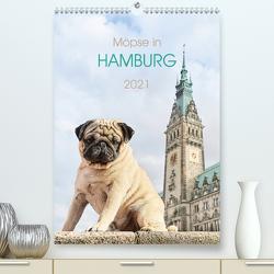 Möpse in Hamburg (Premium, hochwertiger DIN A2 Wandkalender 2021, Kunstdruck in Hochglanz) von und Julia Dodeck,  Ole