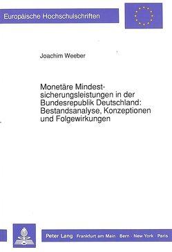 Monetäre Mindestsicherungsleistungen in der Bundesrepublik Deutschland:- Bestandsanalyse, Konzeptionen und Folgewirkungen von Weeber,  Joachim