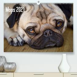 Mops 2021 (Premium, hochwertiger DIN A2 Wandkalender 2021, Kunstdruck in Hochglanz) von Zoellner,  Beate