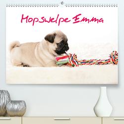 Mopswelpe Emma (Premium, hochwertiger DIN A2 Wandkalender 2021, Kunstdruck in Hochglanz) von Tiller,  Sophie