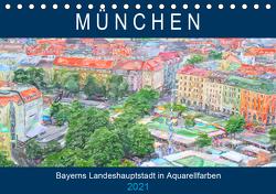 München – Bayerns Landeshauptstadt in Aquarellfarben (Tischkalender 2021 DIN A5 quer) von Frost,  Anja
