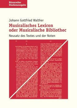 Musicalisches Lexicon oder Musicalische Bibliothec von Ramm,  Friederike, Walther,  Johann G