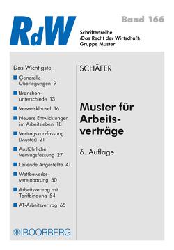 Muster für Arbeitsverträge von Schäfer,  Gerd