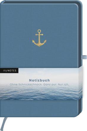 myNOTES Notizbuch Classics Anker – Notizbuch im Mediumformat für Träume, Pläne und Ideen