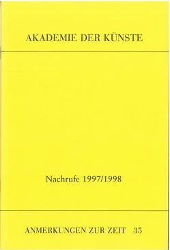 Nachrufe 1997/1998 von Fluegge,  Matthias, Hartung,  Harald, Haufs,  Rolf, Hoppe,  Marianne, Humel,  Gerald, Katzer,  Georg, Merkert,  Jörn, Prinzler,  Hans H., Rischbieter,  Henning