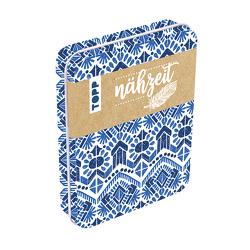 Nähzeit Reise-Nähset mit Metalldose Blau/Weiß von frechverlag