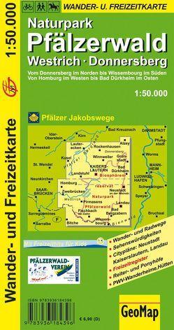 Naturpark Pfälzerwald, Westrich, Donnersberg Wander- und Freizeitkarte