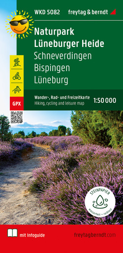 Naturschutzgebiet Lüneburger Heide, Schneverdingen – Bispingen, Wander- und Radkarte 1:50.000