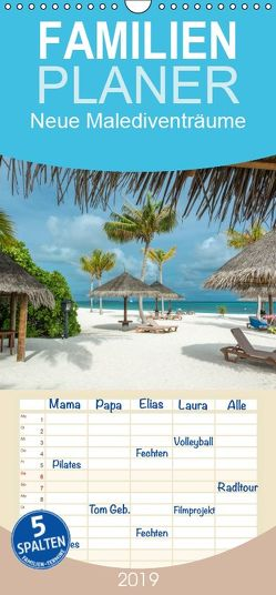 Neue Malediventräume – Familienplaner hoch (Wandkalender 2019 , 21 cm x 45 cm, hoch) von Blome,  Dietmar