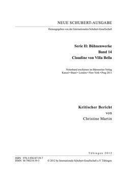 Neue Schubert-Ausgabe. Kritische Berichte / Bühnenwerke / Claudine von Villa Bella von Martin,  Christine