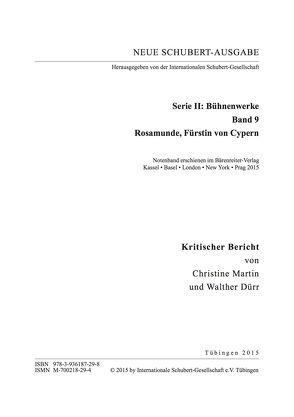 Neue Schubert-Ausgabe. Kritische Berichte / Bühnenwerke / Rosamunde, Fürstin von Cypern von Dürr,  Walther, Martin,  Christine