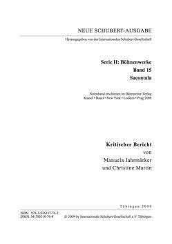 Neue Schubert-Ausgabe. Kritische Berichte / Bühnenwerke / Sacontala von Jahrmärker,  Manuela, Martin,  Christine