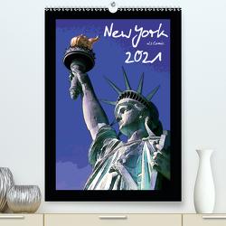 New York als Comic (Premium, hochwertiger DIN A2 Wandkalender 2021, Kunstdruck in Hochglanz) von Silberstein,  Reiner