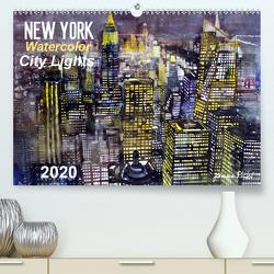New York Watercolor Citylights (Premium, hochwertiger DIN A2 Wandkalender 2020, Kunstdruck in Hochglanz) von Pickl,  Johann