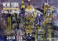 New York Watercolor Citylights (Wandkalender 2019 DIN A2 quer) von Pickl,  Johann