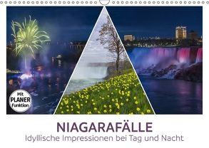 NIAGARAFÄLLE Idyllische Impressionen bei Tag und Nacht (Wandkalender 2018 DIN A3 quer) von Viola,  Melanie