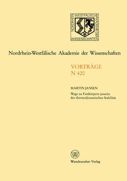 Nordrhein-Westfälische Akademie der Wissenschaften von Jansen,  Martin