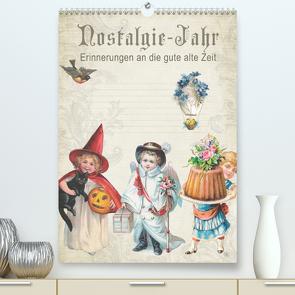 Nostalgie-Jahr, Motive aus alten Poesiealben (Premium, hochwertiger DIN A2 Wandkalender 2021, Kunstdruck in Hochglanz) von bilwissedition.com Layout: Babette Reek,  Bilder: