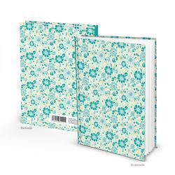 """Notizbuch """"Blümchen Landhaus"""" türkis grün (Hardcover A5, Blankoseiten)"""