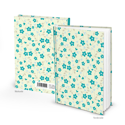 """Notizbuch """"Blumen-Ranken"""" türkis grün gelb (Hardcover A5, Blankoseiten)"""