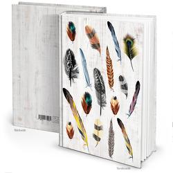 """Notizbuch """"Bunte Federn"""" vintage (Hardcover A4, Blankoseiten)"""