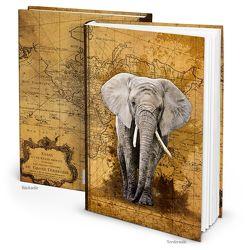"Notizbuch ""Elefant Weltkarte"" vintage antik (Hardcover A4, Blankoseiten)"