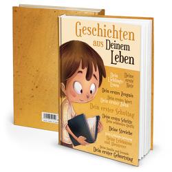 """Notizbuch """"Geschichten aus Deinem Leben"""" Jungen (Hardcover A4, Blankoseiten)"""