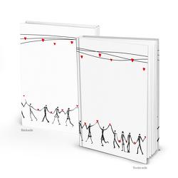 Notizbuch HERZMENSCH schwarz weiß rot (Hardcover A5, Blankoseiten)