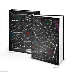 """Notizbuch """"Liebe & Frieden"""" schwarz bunt (Hardcover A4, Blankoseiten)"""