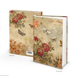 """Notizbuch """"Rosen Schmetterling"""" beige rot floral (Hardcover A5, Blankoseiten)"""