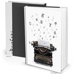 """Notizbuch """"Schreibmaschine Buchstaben"""" schwarz weiß (Hardcover A4, Blankoseiten)"""