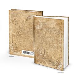Notizbuch vintage ALTE WELT nautisch hellbraun (Hardcover A5, Blankoseiten)