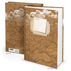 """Notizbuch """"Weltkarte"""" braun weiß (Hardcover A4, 164 Blankoseiten)"""