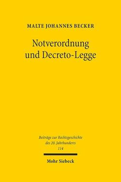 Notverordnung und Decreto-Legge von Becker,  Malte Johannes