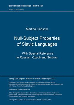 Null-Subject Properties of Slavic Languages von Lindseth,  Martina