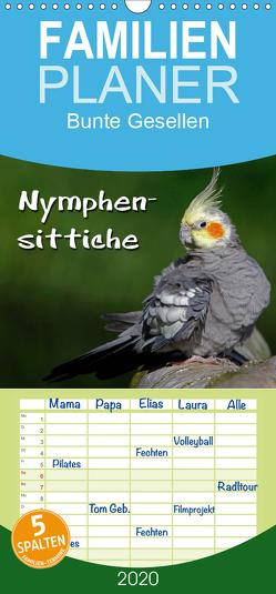 Nymphensittiche – Familienplaner hoch (Wandkalender 2020 , 21 cm x 45 cm, hoch) von Berg,  Martina