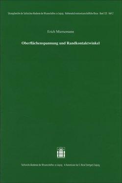 Oberflächenspannung und Randkontaktwinkel von Miersemann,  Erich